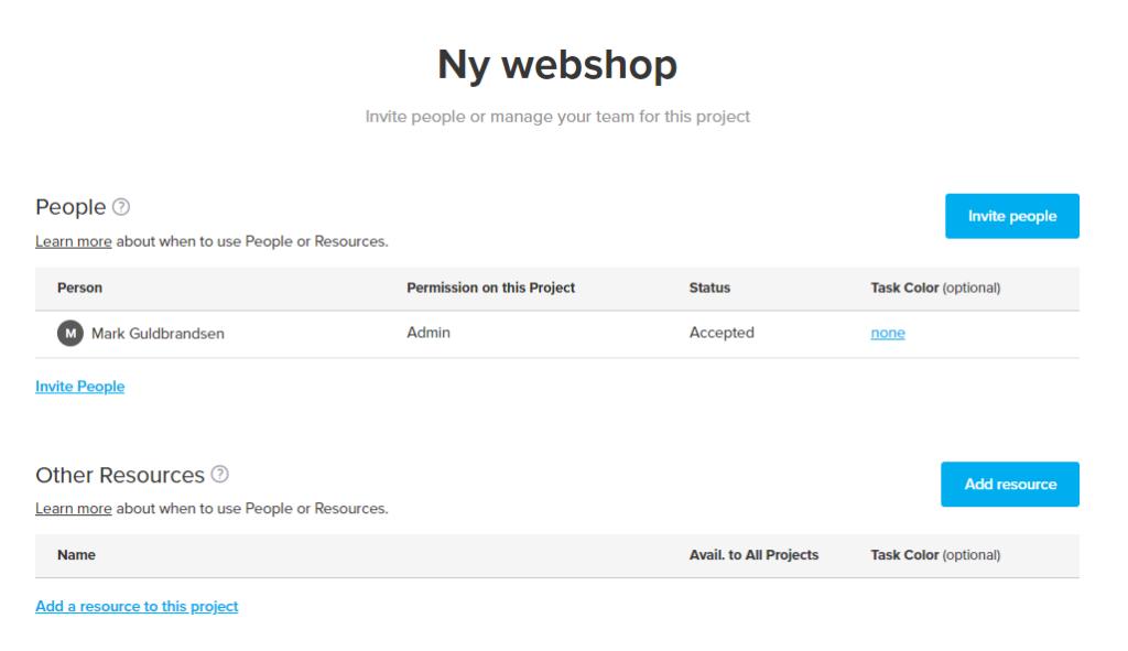 Tilføj kollegaer og ressourcer til din projektplan
