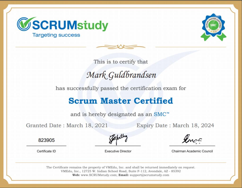 SCRUM Master Certifikat
